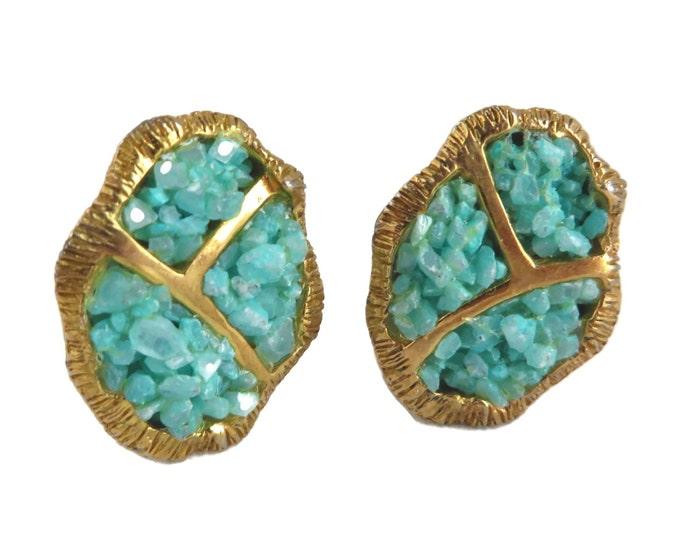 Vintage Turquoise Bead Earrings, Hattie Carnegie Jewelry, Goldtone Clip on Earrings, Signed Designer, Green Stone Earrings, Unique Earrings