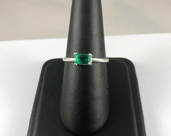 Lab Created Emerald Green Octagon Cut Stone Ring with Sterling Band