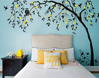 Nursery wall decals Children baby wall decals wall sticker wall decor Tree with owl-tree with leaves in the wind-DK351