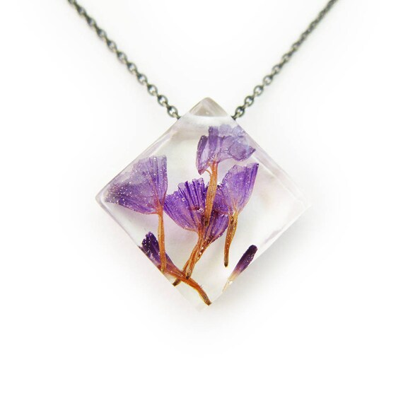Purple Dried Flower Botanical Eco Resin Necklace •  Flower Resin Pendant • Terrarium Jewelry • Flower Jewelry • Botanical Jewelry •  Real