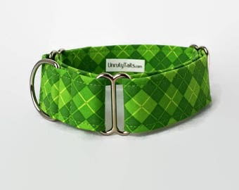 Lucky Argyle Dog Collar - Martingale Collar or Side Release Buckle Collar - Shade of green argyle pattern