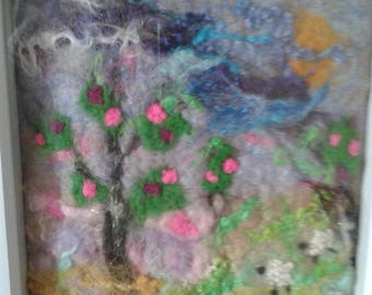 Felt picture/Landscape felt picture/Devon landscape/Felt art/Sheep/Storm/Sheep in stormy weather
