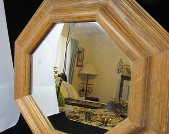 Wall Mirror Vintage Oak  Octagon  Unique  Home Decor Country Decor Cottage Chic Mirror Gift Victorian