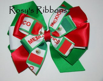 Mexico hair bow, Cinco De Mayo Hair bow