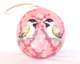 Needle Felted Christmas Ornaments Chickadee Birds - Pink - Bird Ornaments - Bird on Berry Bush - Felt Christmas Ornament - Gift Item