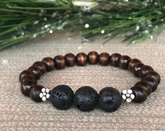 Lava Stone, Dark Brown Wood, Silver Flower Bead, Essential Oil Diffuser Bracelet, lava bead bracelet, EO diffuser bracelet, lava stone
