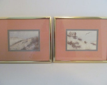 CLEARANCE Vintage Framed Seashore Watercolor PRINTS by D. MORGAN / Set of 2 Seaside Art Prints / Beach Decor