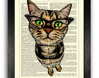Nosey Cat in Glasses Art Print, Cat Artwork, Cat Poster, Gift for Cat Lover, Dictionary Page Print, Cat Wall Decor Art, Cat Painting Print