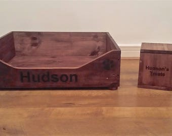 Custom Personalised Dog/Cat Pet Wooden Bed Made From Recycled Wood