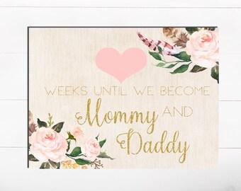 Compte à rebours imprimable aquarelle Shabby fleuri rose Blush Rose semaines jusqu'à ce que bébé semaines jusqu'à ce que maman et papa grossesse semaines de grossesse