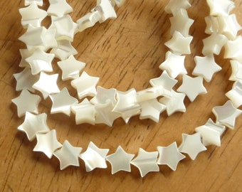 8mm  Mother of pearl, , star beads   , MOP star, full strand (16 inches)