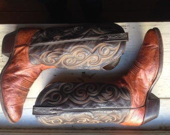 Dan Post cowboy boot two-tone. about a womens 10.5 mens sz 9D