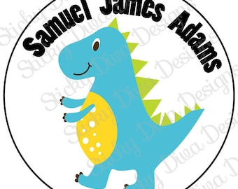 PERSONALIZED STICKERS - Custom Dinosaurs Sticker Labels - 6 Designs to choose from - Round Gloss Labels