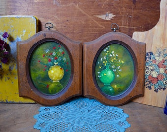Set of 2 Vintage Matching Wooden Framed Flower Painting Frame Red Yellow Green from 1975 70s