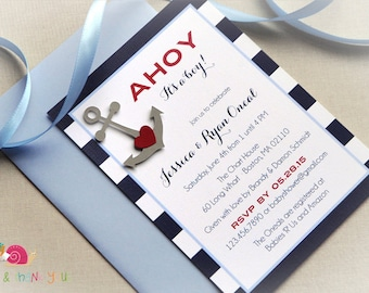 Ahoy Baby Shower Invitations · A6 FLAT · Navy Light Blue and Red · Baby Shower | Baby Sprinkle | Nautical | Anchor