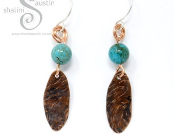 Turquoise Semi-Precious Gemstone & Textured Copper Earrings with Sterling Silver Ear-wires