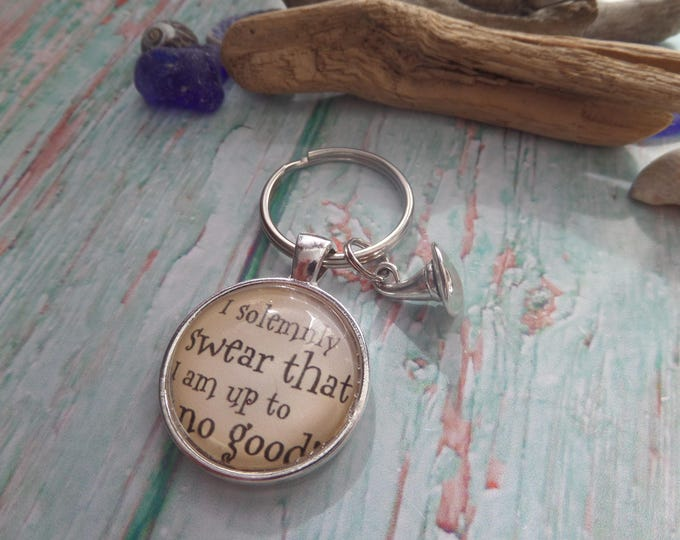 Up to no good quote wizard fan gift jewellery wizard keyring wizards hat, wizard favours, wizard wedding, wizard party, wizard keyring