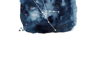 Digital Download - Taurus Zodiac Constellation Watercolour Illustration (Star Sign)