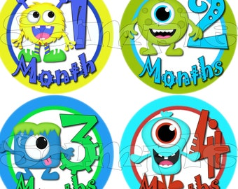 Monster Baby Boy Monthly sticker Baby Shower gift Baby Month stickers Month baby sticker Milestone stickers Onepiece stickers infant age