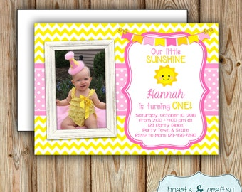 You Are My Sunshine Birthday Invitation with Photo / Sunshine Birthday Party Invitation / Little Sunshine Party Invitation - FILE to PRINT