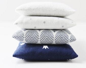 Set of 4 Modern Lavender Bags, White Grey & Navy Pillow Sachets