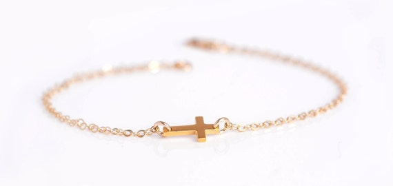 Cross Bracelet, Sideways Cross Bracelet, Silver Cross Bracelet, Tiny Cross Bracelet, Dainty Gold Bracelet, Gold Cross Bracelet