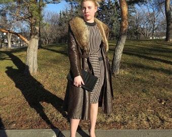 1980s black and beige striped dress/ 1980s striped dress with pockets/ vintage dress