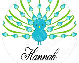 PERSONALIZED STICKERS - Custom Adorable Peacock Personalized Labels -  Gloss Labels