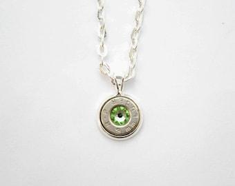 Silver Dainty Bullet & Peridot Charm Necklace