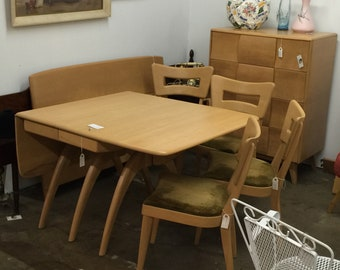 Vintage MCM Heywood Wakefield Iconic Wishbone Dining Table Dog Bone Back Chairs