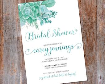 Succulent Bridal Shower Invitation, Succulent invitation, Printable invitation, Bridal Shower invite, Spring Bridal Shower Invitation, Teal