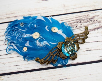 Handcrafted Steampunk Wing Hair Clip - Turquoise Brass and White - Aqua Hair Clip - Steampunk Fashion - Cosplay Hair Accessory - Wings Bow