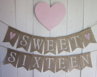 Sweet Sixteen Birthday Banner - Sixteen Birthday Bunting - 16th Birthday Decor - Girl's Birthday Photo Prop Garland - Party Backdrop Sign