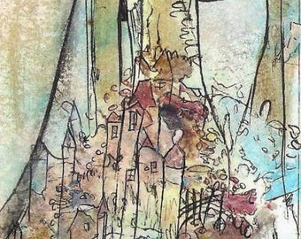 No. 6024B, ACEO Art Cards Editions & Originals ATC Fantasy Landscape by NoRaHzArT