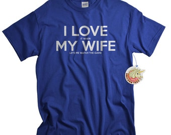 Sports Shirts Anniversary Gifts for Men I LOVE it when MY Wife® Lets Me Watch The Game Soccer Hockey Shirt for Husband or Dad