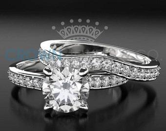 Engagement Ring Wedding Bridal Set For Women 1.6 ct Round Brilliant Cut Diamond 14K White Gold Setting Size 4 5 6 7 8