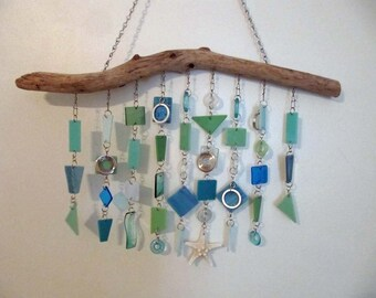 """Beach Star: Glass Mobile / Wind Chime featuring Stained Glass and Fused Glass (approx 20"""" wide x 14"""" long)"""