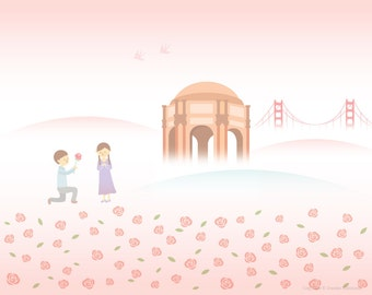 Will You Marry Me Art Print - Palace of Fine Arts, Rose, San Francisco, Golden Gate Bridge, Wall Art
