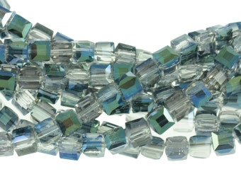"""6mm Clear Crystal Cubes with Sparkling Deep Blue & Green Luster Finish on One Side - Full 16"""" Strand - About 61 Beads"""