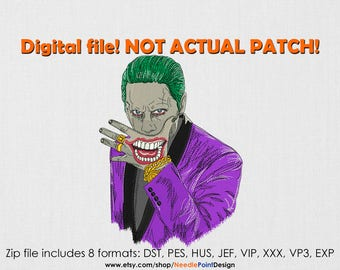 INSTANT DOWNLOAD - Villain machine embroidery design. Embroidery file