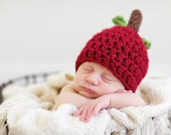 Apple Hat, Fall Hat, Knit Apple Hat, Newborn Photo Prop, Fall Photo Prop, Fall Baby Shower, Fall Baby Hat, Halloween Hat, Halloween Costume