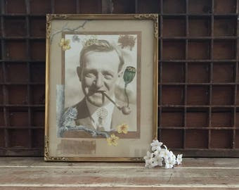 Framed picture, mixed media assemblage, vintage sepia photo, paper cut out, wooden frame, de stressed gold frame, quirky art, up cycled