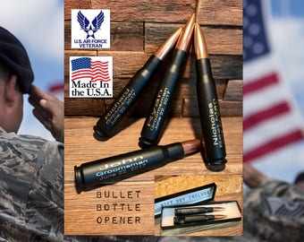 Groomsmen Gifts/One Engraved Black .50 Caliber Bullet Bottle Opener/Personalized/Father of the Bride Gift/Father of the Groom Gift/Best Man