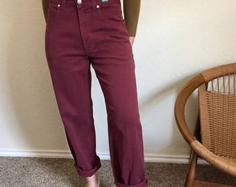 Vintage Versace High Waisted Maroon Jeans Sz 29