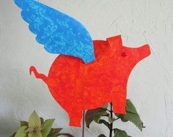Metal garden art when pigs fly garden decor sculpture metal yard art stake flying pig outdoor living orange cobalt blue 9 x 11