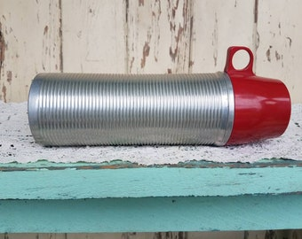 Retro Thermos With Cork - Thermos Brand Drink Holder in Silver + Ref, Drink Carrier, Gift For Him, Vaccum Bottle, Retro Coffee or Tea Holder