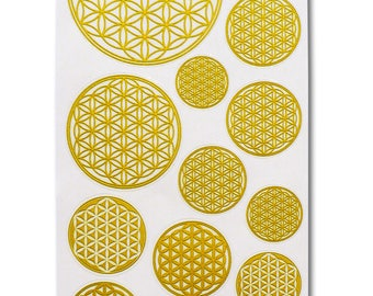 Flower of Life, 15 Stickers (1 sheet), Transparent, Gold Color