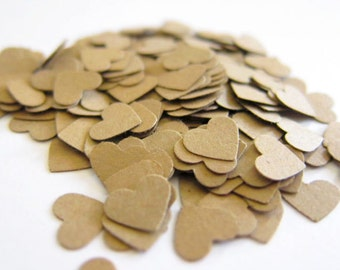 "Set of 100 - 2/5"" (.40) inches - KRAFT - Mini Hearts - Confetti / Embellishments"