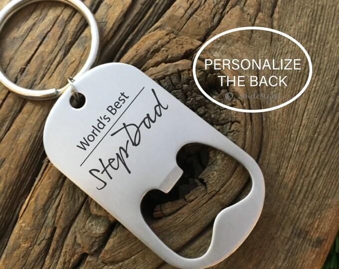 World's Best Stepdad Bottle Opener Keychain