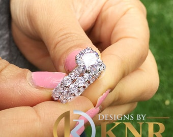 Women's 14k white gold round cut forever one moissanite and diamond engagement ring and band eternity Bridal Wedding Natural Diamonds 6.00